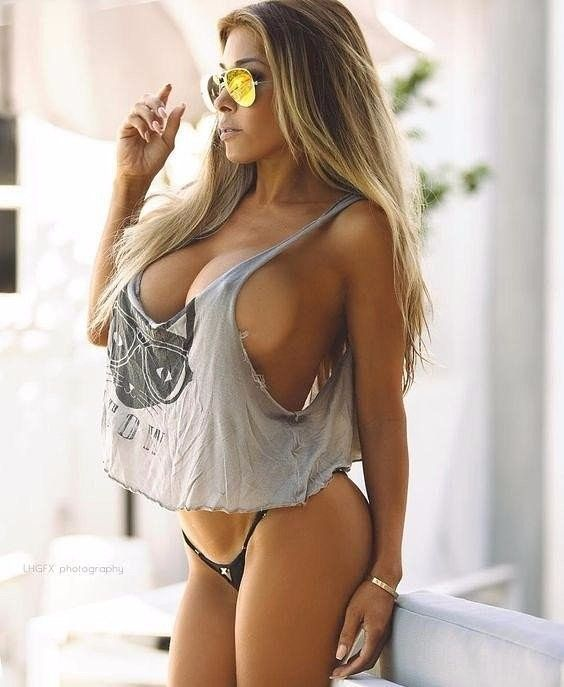 amazing body covered with ragged t-shirt